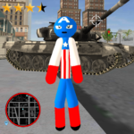 Stickman Capitaine american Rope Hero Gangster 1.3 APK (MOD, Unlimited Money)
