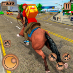 Mounted Horse Riding Pizza Guy: Food Delivery Game 1.0.5  MOD (Unlimited Money)